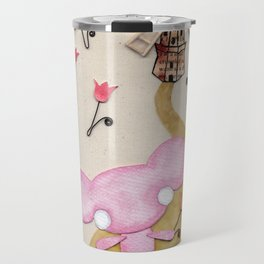A Mouse With Clogs On, By A Windmill Travel Mug