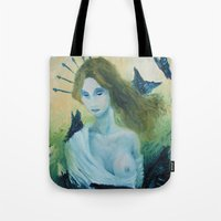 madonna Tote Bags featuring Butterfly Madonna by AriesNamarie