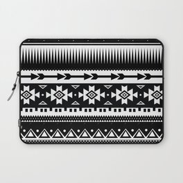 Aztec Pattern Black and White Laptop Sleeve