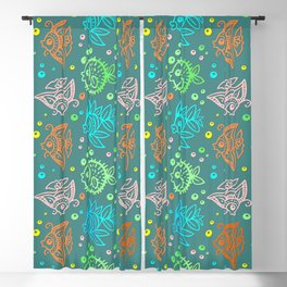 Fishes Batik Style Seamless Pattern Blackout Curtain
