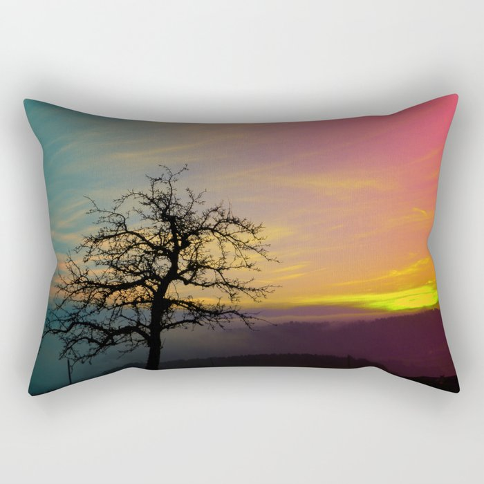Old tree and colorful sundown panorama | landscape photography Rectangular Pillow