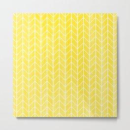 Yellow Herringbone Metal Print