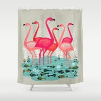 yetiland Shower Curtains featuring Flamingos by Andrea Lauren  by Andrea Lauren Design