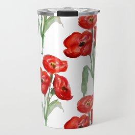 Watercolor Red Poppies Travel Mug