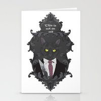 american psycho Stationery Cards featuring American Psycho Kitty by Elisabeth Acerbi