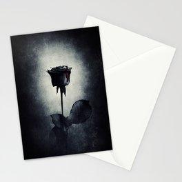 Goth Black Rose Dripping Blood on Black Grunge Stationery Cards