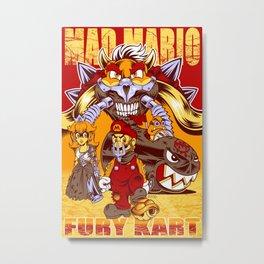 Mad Mario: Fury Kart Metal Print