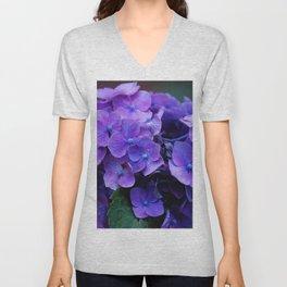 Purple Hydrangeas Unisex V-Neck