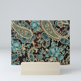 Brown Turquoise Paisley Mini Art Print