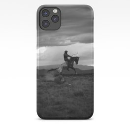 Black and White Cowboy Being Bucked Off iPhone Case