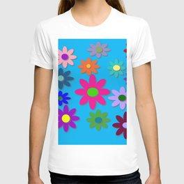 Flower Power - Blue Background - Fun Flowers - 60's Hippie Style T-shirt