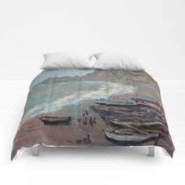 Boats on the Beach at Etretat by Claude Monet Comforters