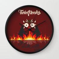 twin peaks Wall Clocks featuring Twin peaks by sgrunfo