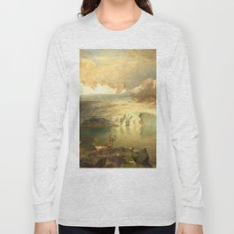 Fjord Landscape with Glacier and Reindeer Long Sleeve T-shirt