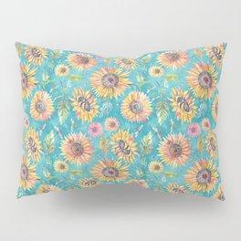 Sunflowers on Turquoise Pillow Sham