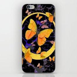 BLACK & YELLOW BUTTERFLIES VIGNETTE ABSTRACT ART iPhone Skin