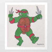 ninja turtle Art Prints featuring Teenage Mutant Ninja Turtle by GL Przewoznik