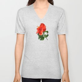 Red Darling Hibiscus Unisex V-Neck