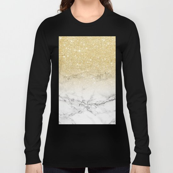 Modern faux gold glitter white marble color block Long Sleeve T-shirt