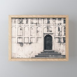 Mughal Indian Black and White Architecture in Red Fort, New Delhi Framed Mini Art Print