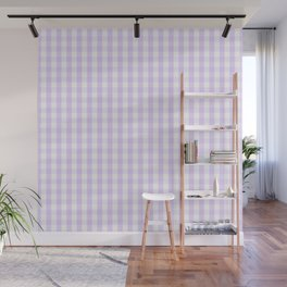Chalky Pale Lilac Pastel and White Gingham Check Plaid Wall Mural