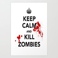 zombies Art Prints featuring ZOMBIES by Tania Joy