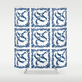 Blue and white swallows birds chinoiserie china porcelain toile asian ginger jar delft pattern Shower Curtain