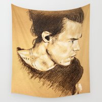 harry styles Wall Tapestries featuring Harry Styles by Drawpassionn