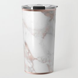 Luxury Rose-gold Faux Marble Travel Mug