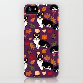 Tricolored Corgi autumn woodland pillow print iphone case phone case corgis cute design iPhone Case
