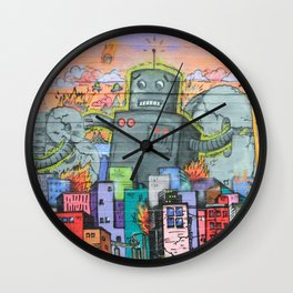 Graffiti Neck Gator Robot Mural City Urban Art Wall Clock