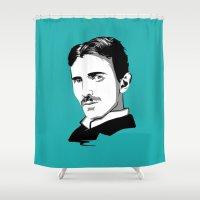 tesla Shower Curtains featuring Nikola Tesla by Laura Meg