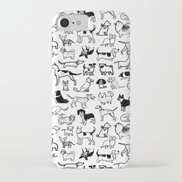 Black and White Dog Drawings | Cute Canines Pattern iPhone Case