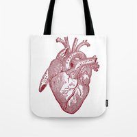 anatomical heart Tote Bags featuring anatomical heart by Kristian