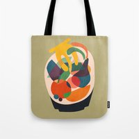 wooden Tote Bags featuring Fruits in wooden bowl by Picomodi