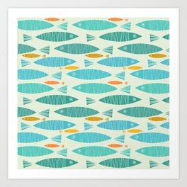 Shimmering Scandinavian Fish In Blue And Gold Pattern Art Print
