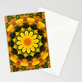 Floral mandala-style, California Poppies Stationery Cards