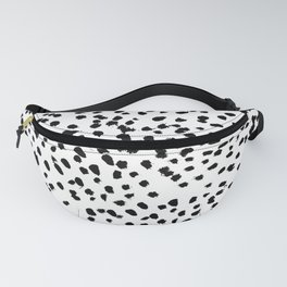 Nadia - Black and White, Animal Print, Dalmatian Spot, Spots, Dots, BW Fanny Pack