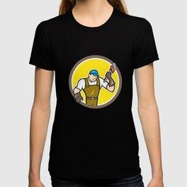 Plumber Monkey Wrench Circle Cartoon T-shirt