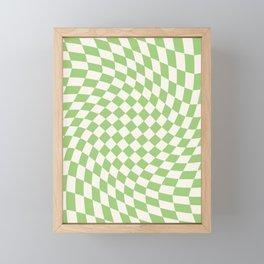 Green Checker Swirl Framed Mini Art Print