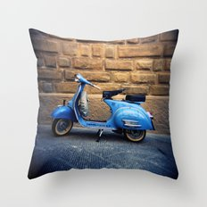 Blue Vespa, Italy Throw Pillow