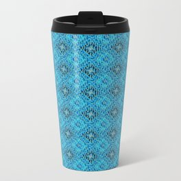 Blue Diamond Mosaic Tile Pattern Metal Travel Mug