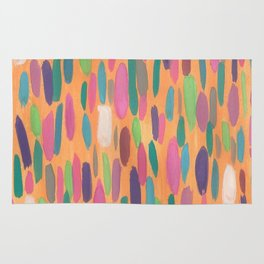 Colorful Dots on Orange Background Abstract Rug