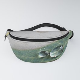 Leaf with Tropical Rain Drop Botanical Green Minimalist Nature Photography Fanny Pack