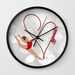 Red Heart Gymnast Text Wall Clock