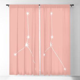 Cancer Zodiac Constellation - Pink Rose Blackout Curtain
