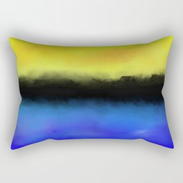 Separation - Abstract in black, blue and yellow Rectangular Pillow