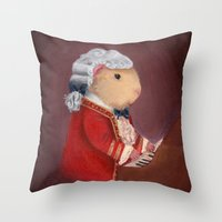mozart Throw Pillows featuring Guinea Pig Mozart by When Guinea Pigs Fly