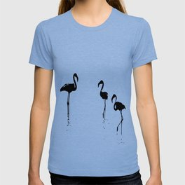 We Are The Three Flamingos Silhouette In Black T-shirt