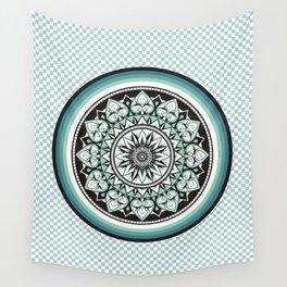 Mandala Design Sea Blue Aqua Theme Wall Tapestry